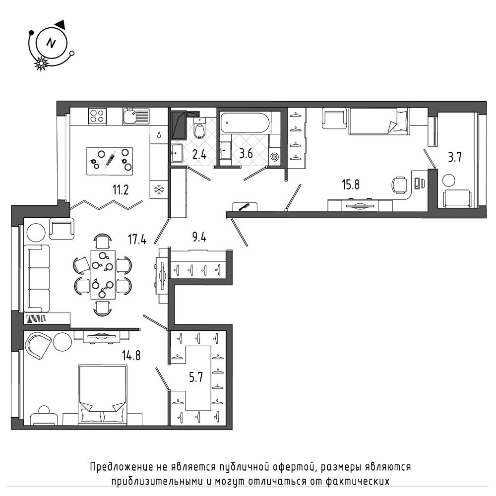 планировка трехкомнатной квартиры в  №335