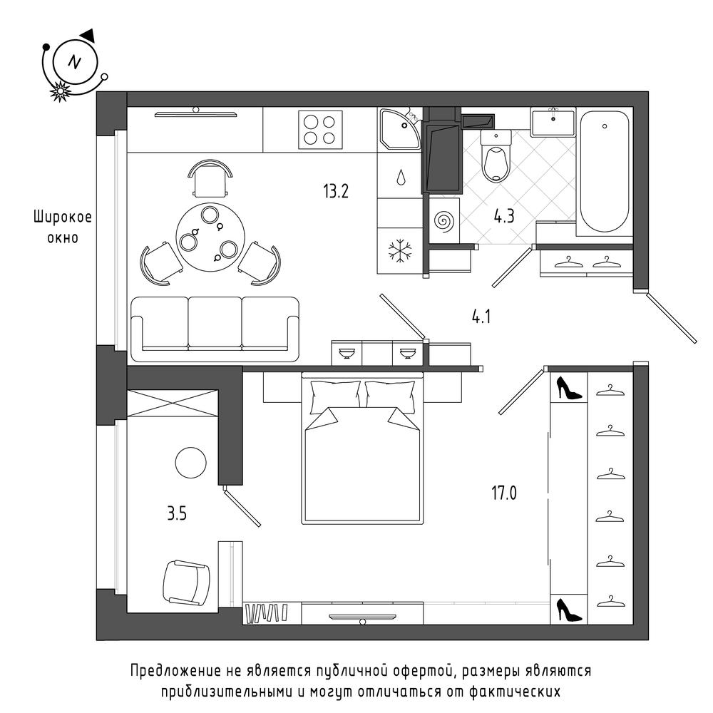 планировка однокомнатной квартиры в  №399