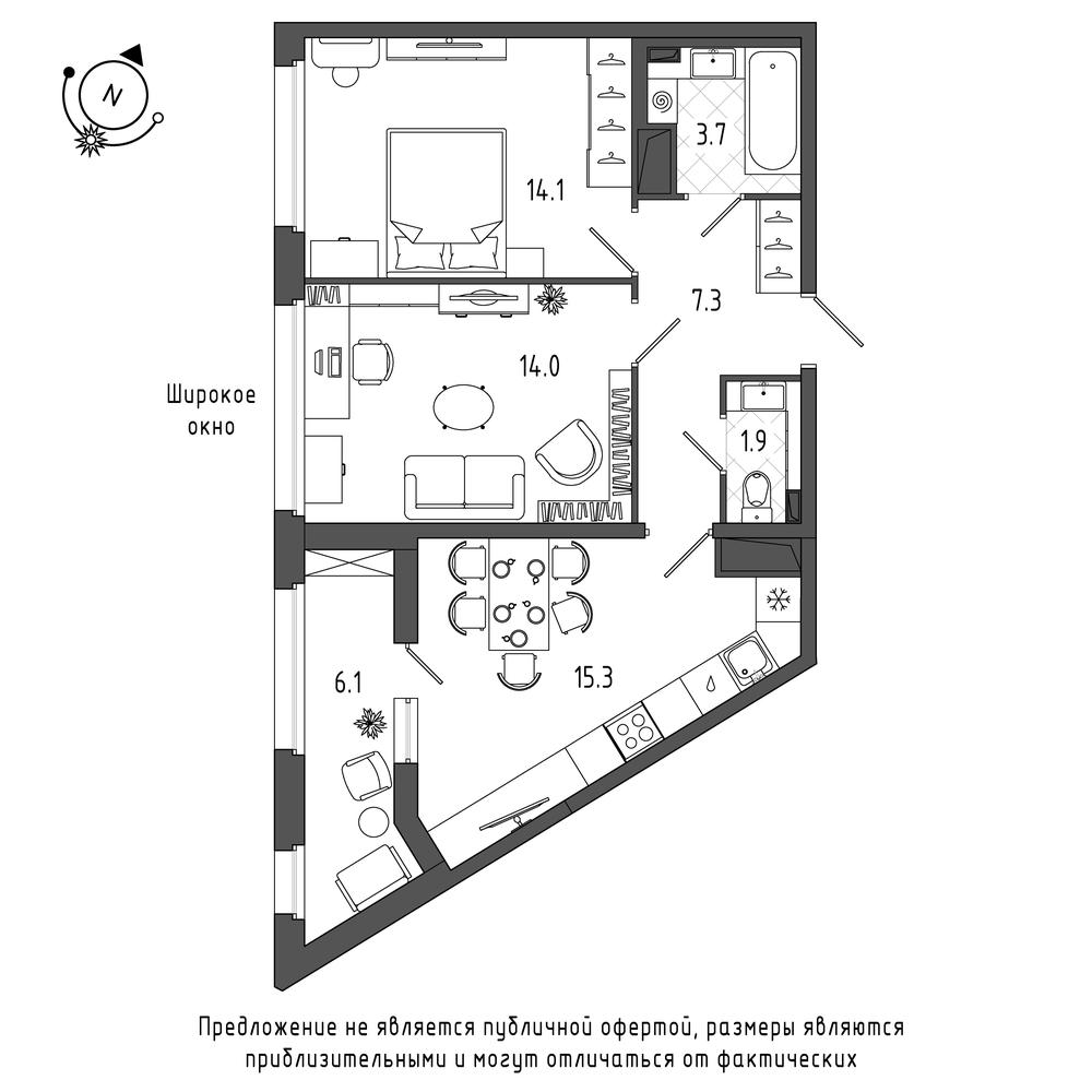 планировка двухкомнатной квартиры в  №414