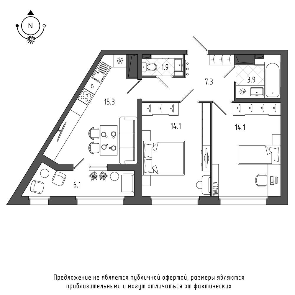 планировка двухкомнатной квартиры в  №429