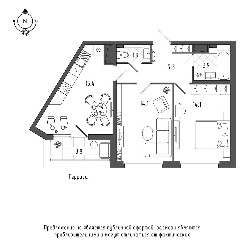 планировка двухкомнатной квартиры в ЖК Галактика Pro №450