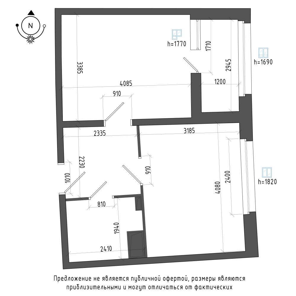 планировка однокомнатной квартиры в ЖК Галактика Pro №155