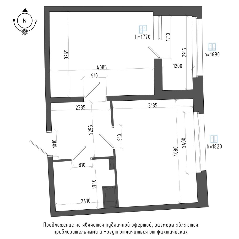 планировка однокомнатной квартиры в ЖК Галактика Pro №190