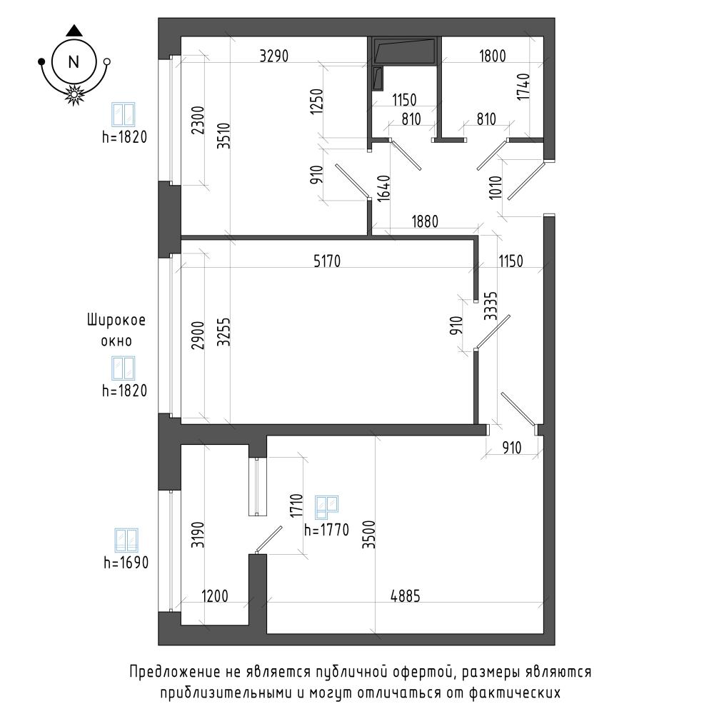 планировка двухкомнатной квартиры в ЖК Галактика Pro №55