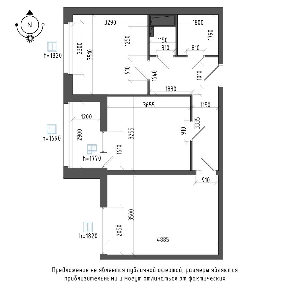 планировка двухкомнатной квартиры в ЖК Галактика Pro №96