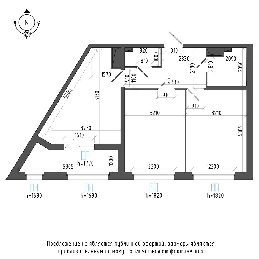 планировка двухкомнатной квартиры в ЖК Галактика Pro №429