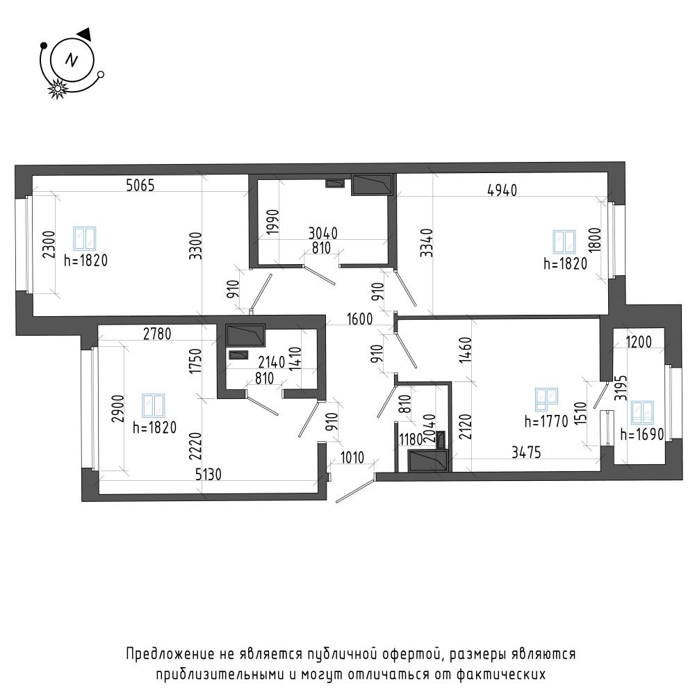 планировка трехкомнатной квартиры в ЖК Галактика Pro №307