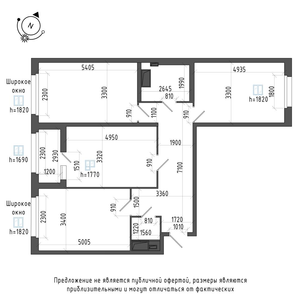 планировка трехкомнатной квартиры в ЖК Галактика Pro №398