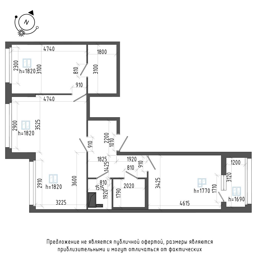 планировка трехкомнатной квартиры в ЖК Галактика Pro №308