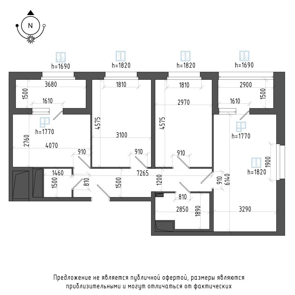 планировка трехкомнатной квартиры в ЖК Галактика Pro №403