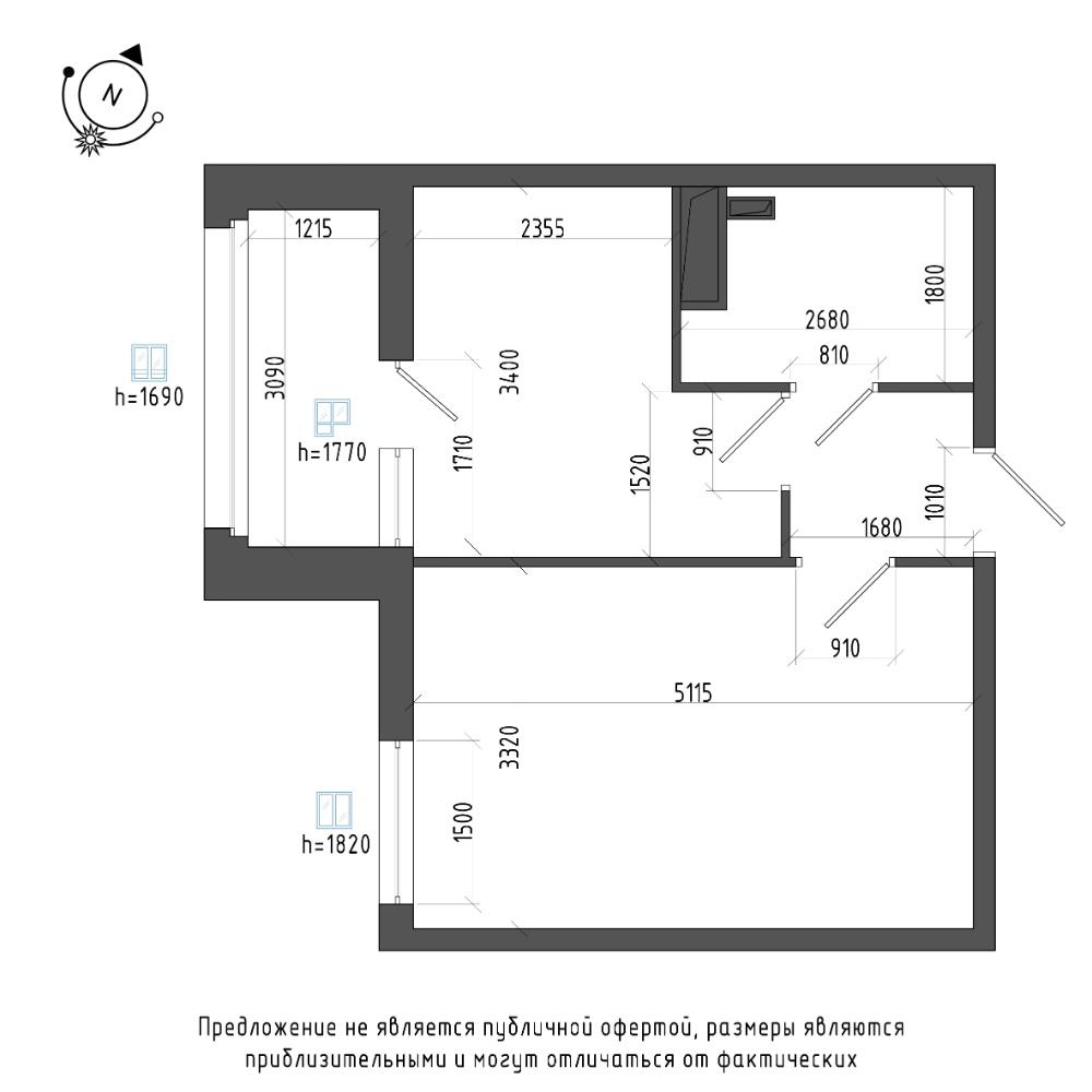 планировка однокомнатной квартиры в ЖК Галактика Pro №448