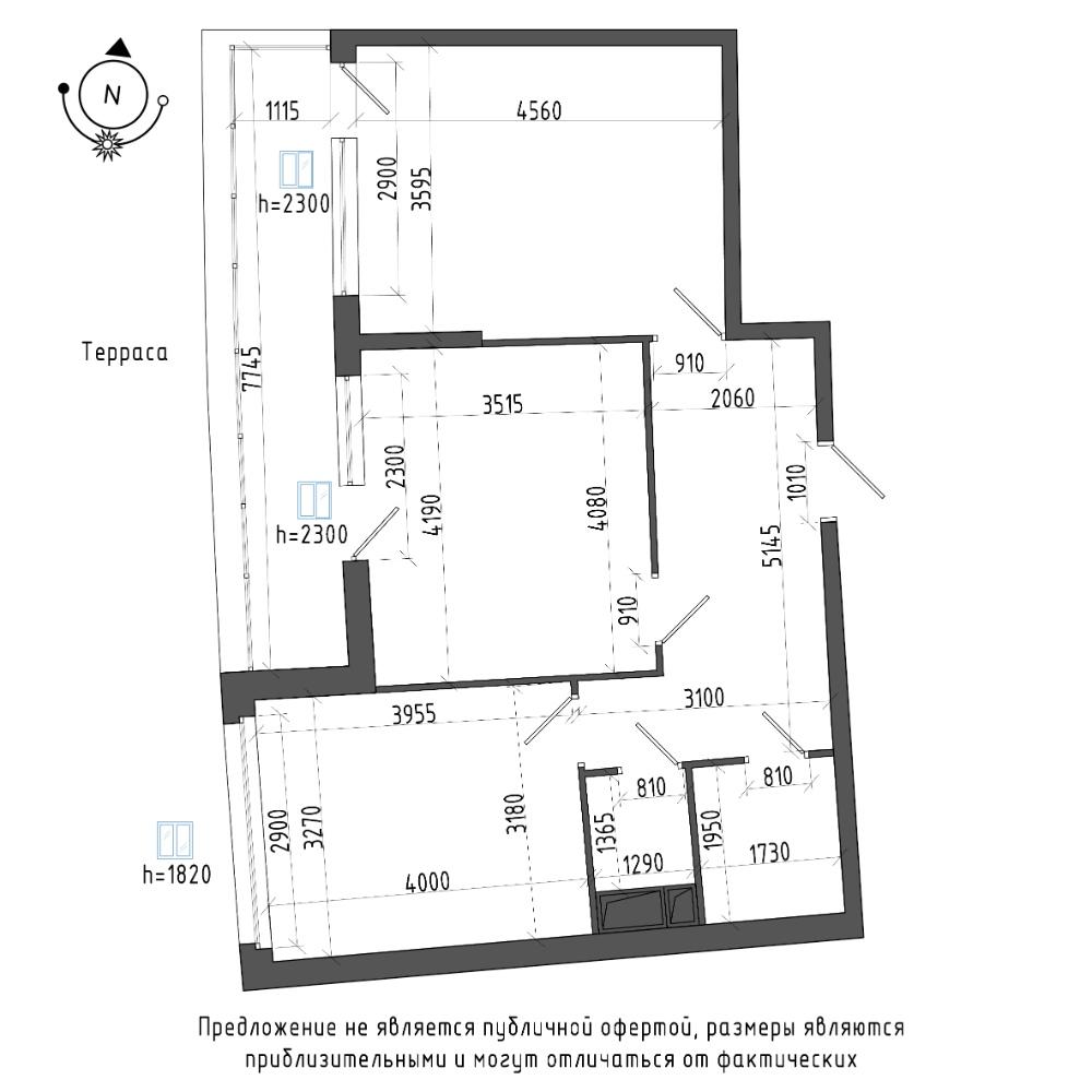 планировка двухкомнатной квартиры в ЖК Галактика Pro №188