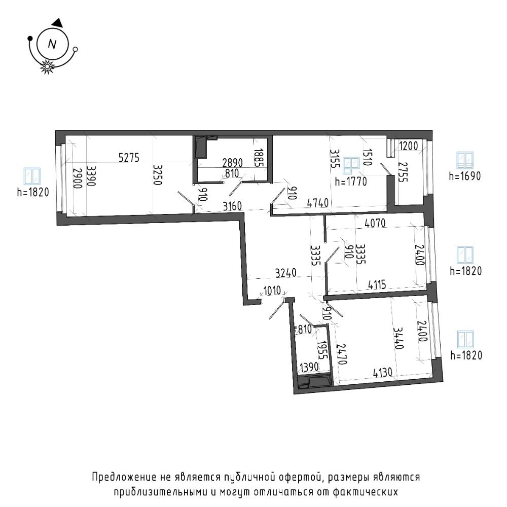 планировка трехкомнатной квартиры в ЖК Галактика Pro №215