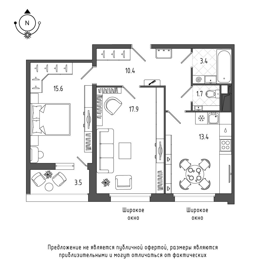 планировка двухкомнатной квартиры в  №46