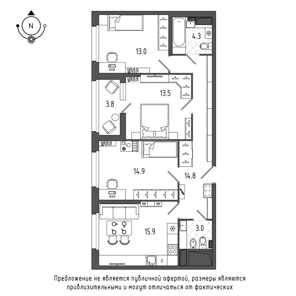 планировка трехкомнатной квартиры в ЖК Галактика Pro №84