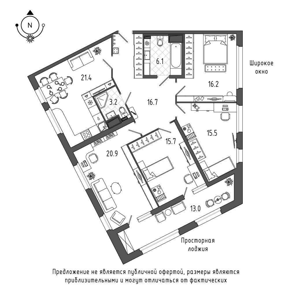 планировка четырехкомнатной квартиры в  №318