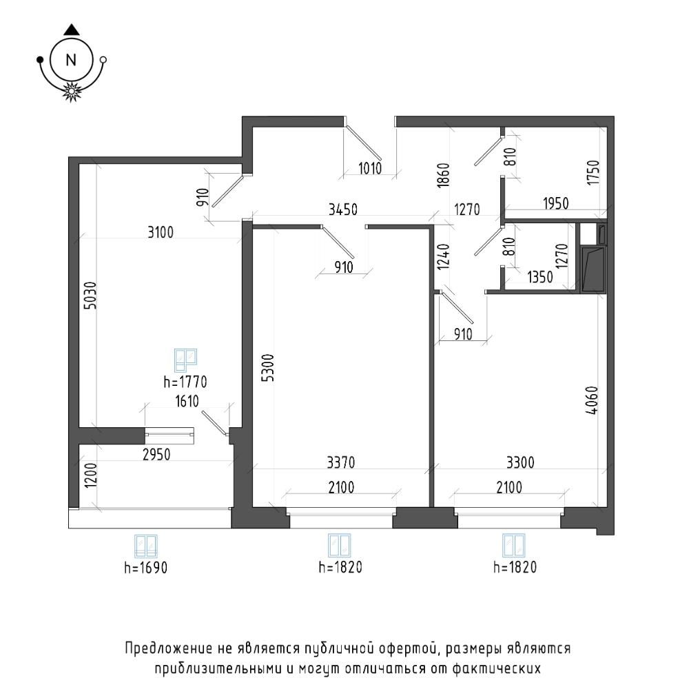 планировка двухкомнатной квартиры в ЖК Галактика Pro №46