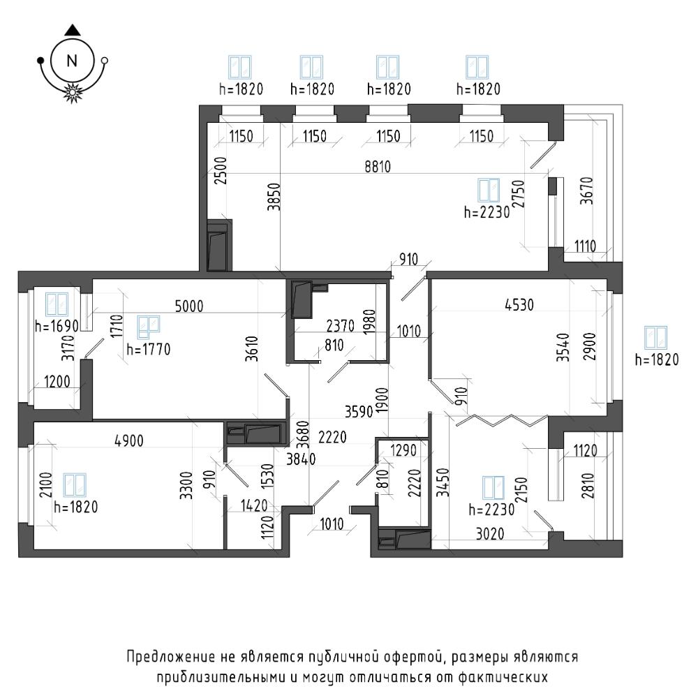 планировка четырехкомнатной квартиры в ЖК Галактика Pro №106