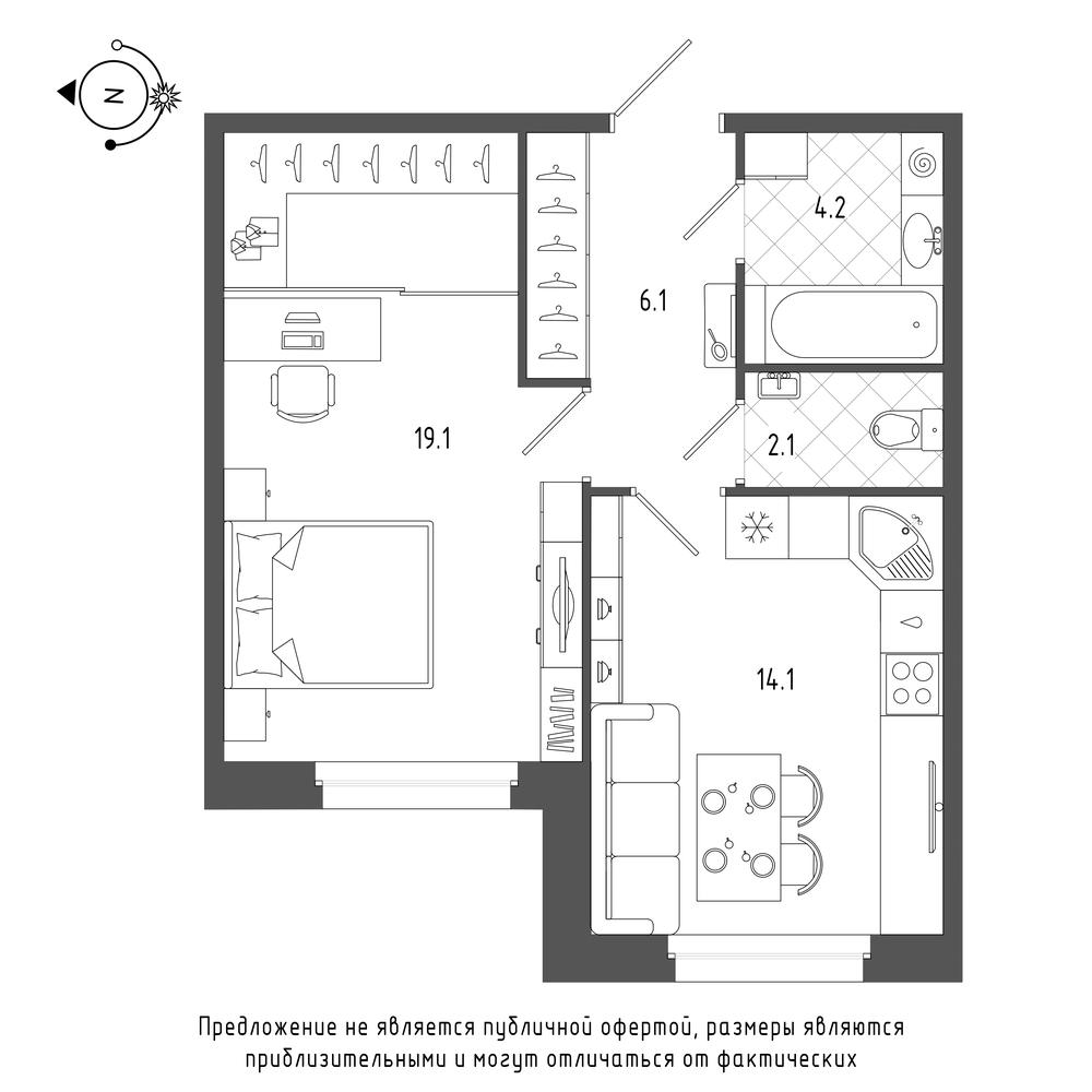 планировка однокомнатной квартиры в  №2