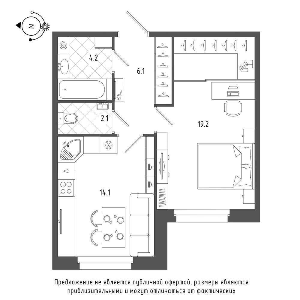 планировка однокомнатной квартиры в  №3