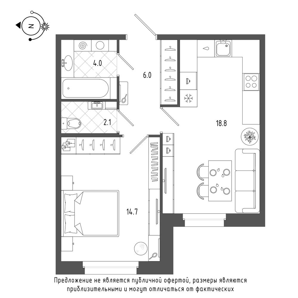 планировка однокомнатной квартиры в  №86