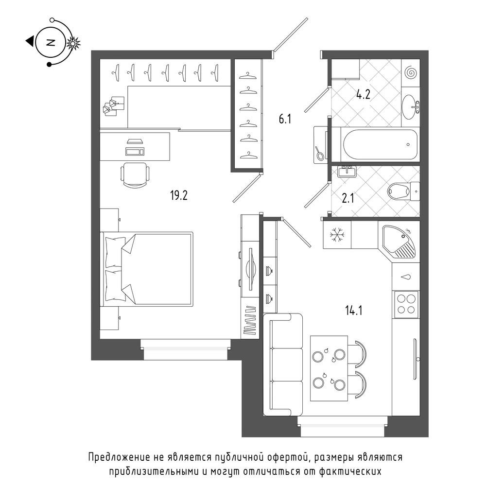 планировка однокомнатной квартиры в  №4