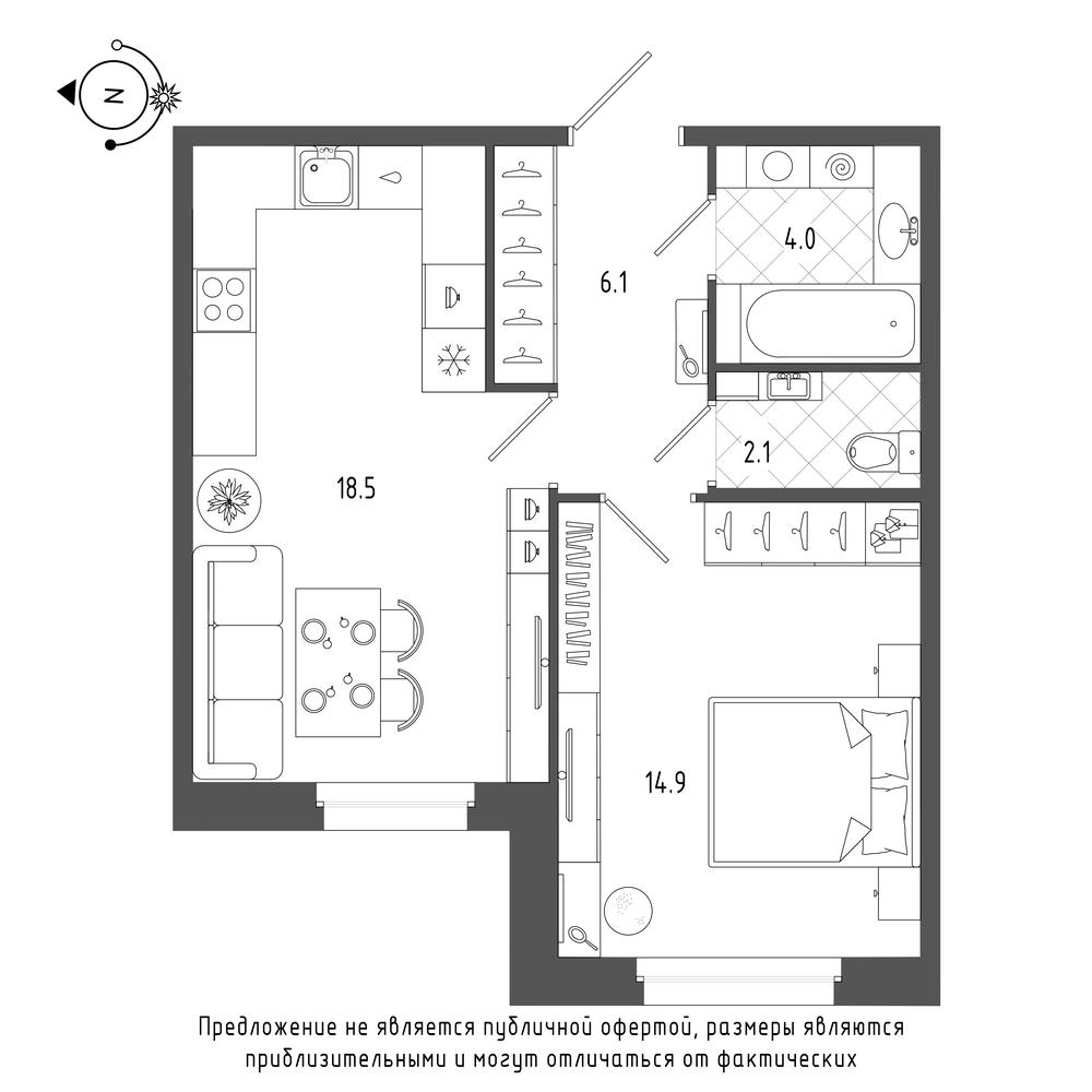 планировка однокомнатной квартиры в  №87