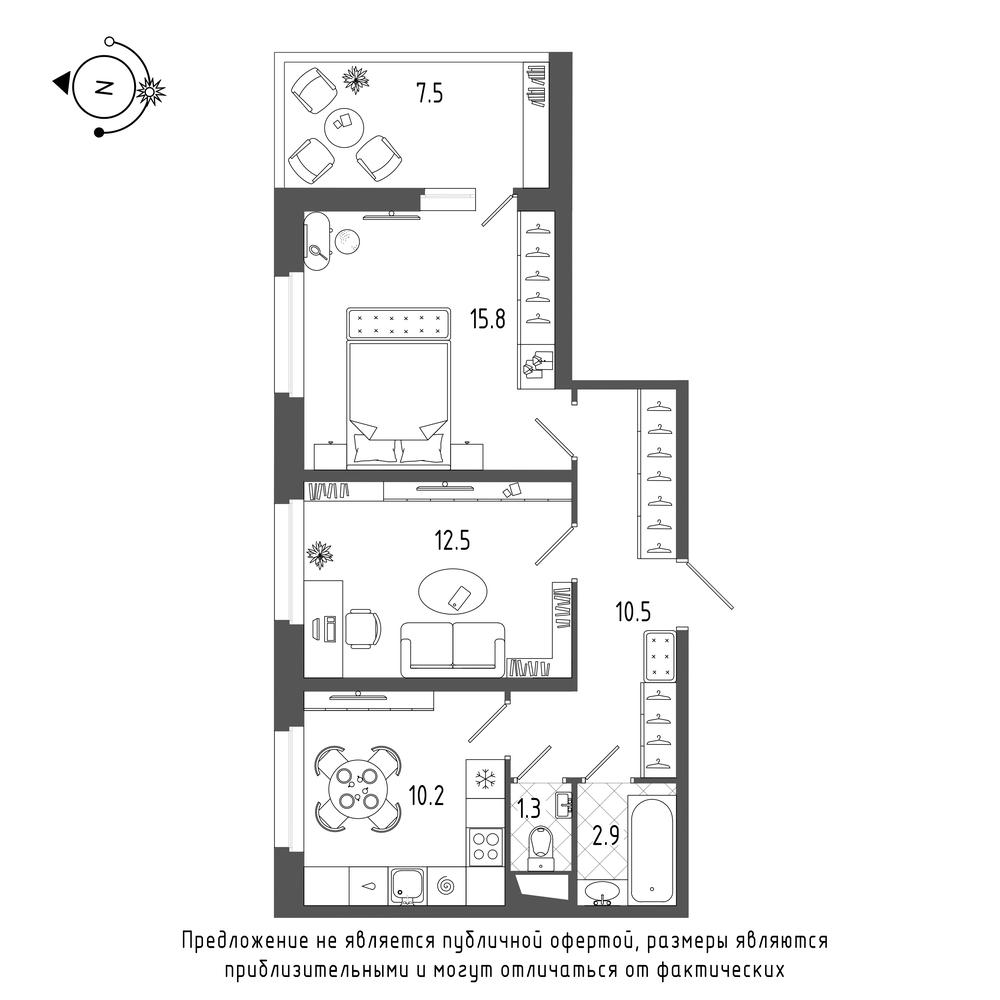 планировка двухкомнатной квартиры в  №615
