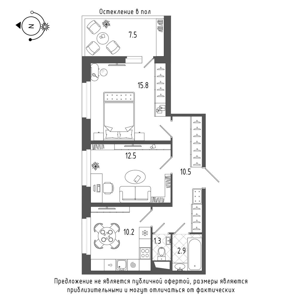 планировка двухкомнатной квартиры в  №555