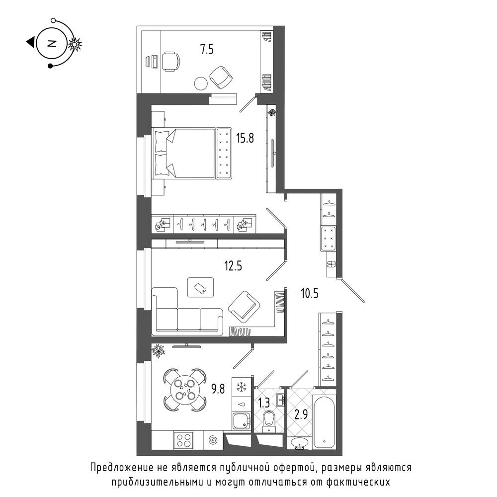 планировка двухкомнатной квартиры в  №675