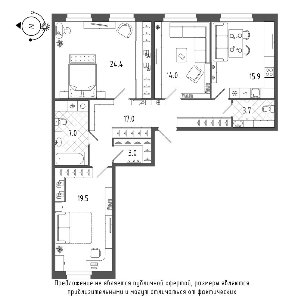 планировка трехкомнатной квартиры в  №168