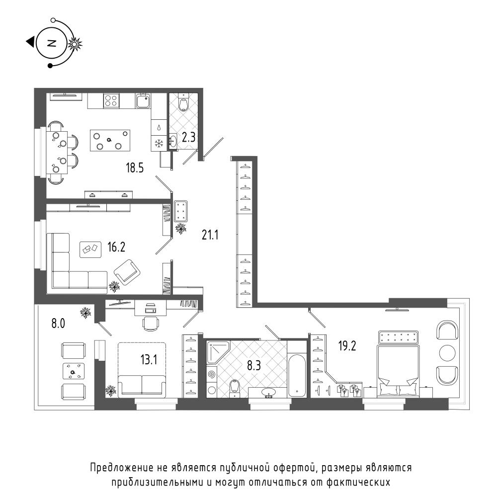 планировка трехкомнатной квартиры в  №592