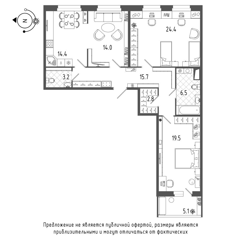 планировка трехкомнатной квартиры в  №178