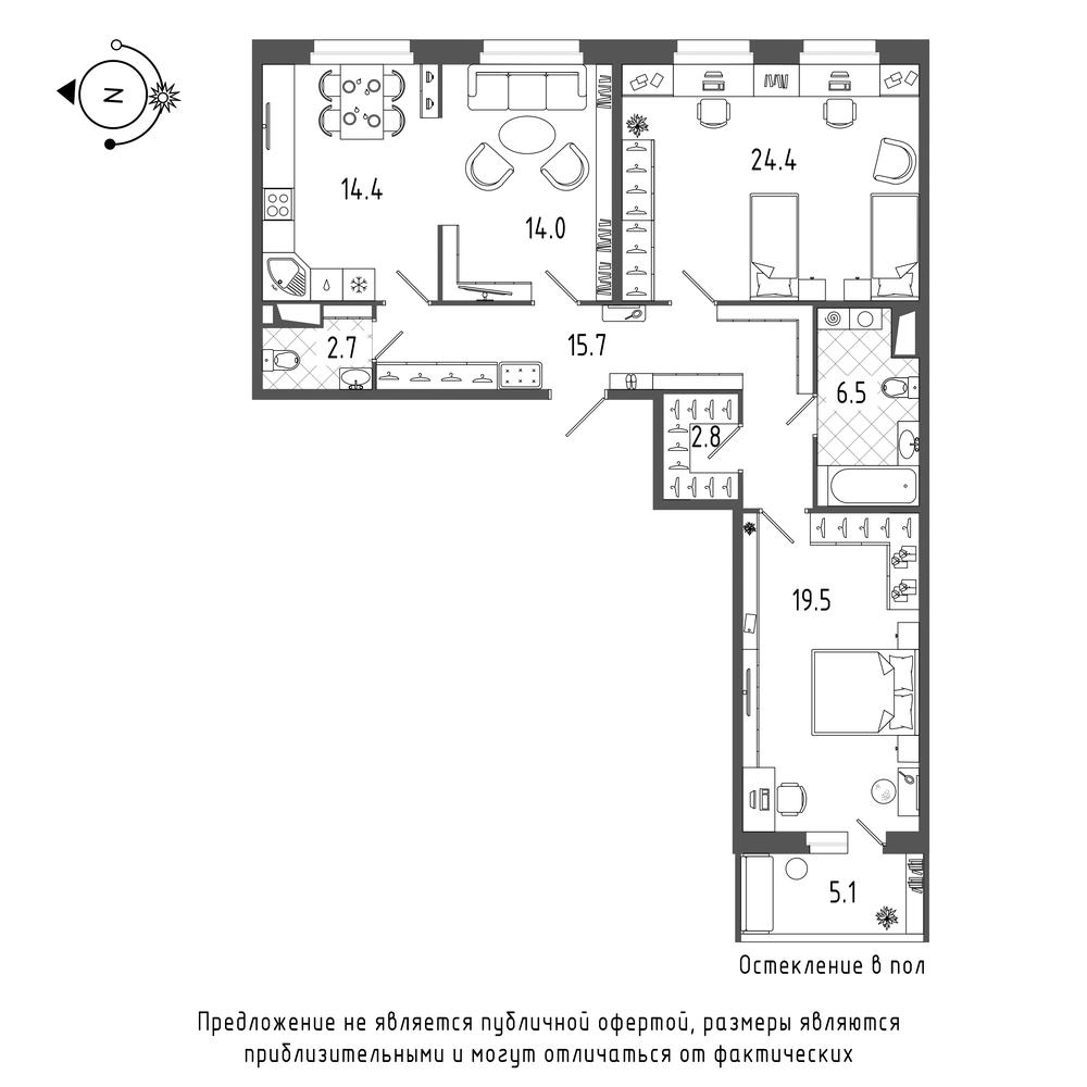 планировка трехкомнатной квартиры в  №107