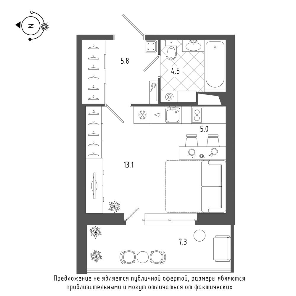 планировка квартиры студии в  №112