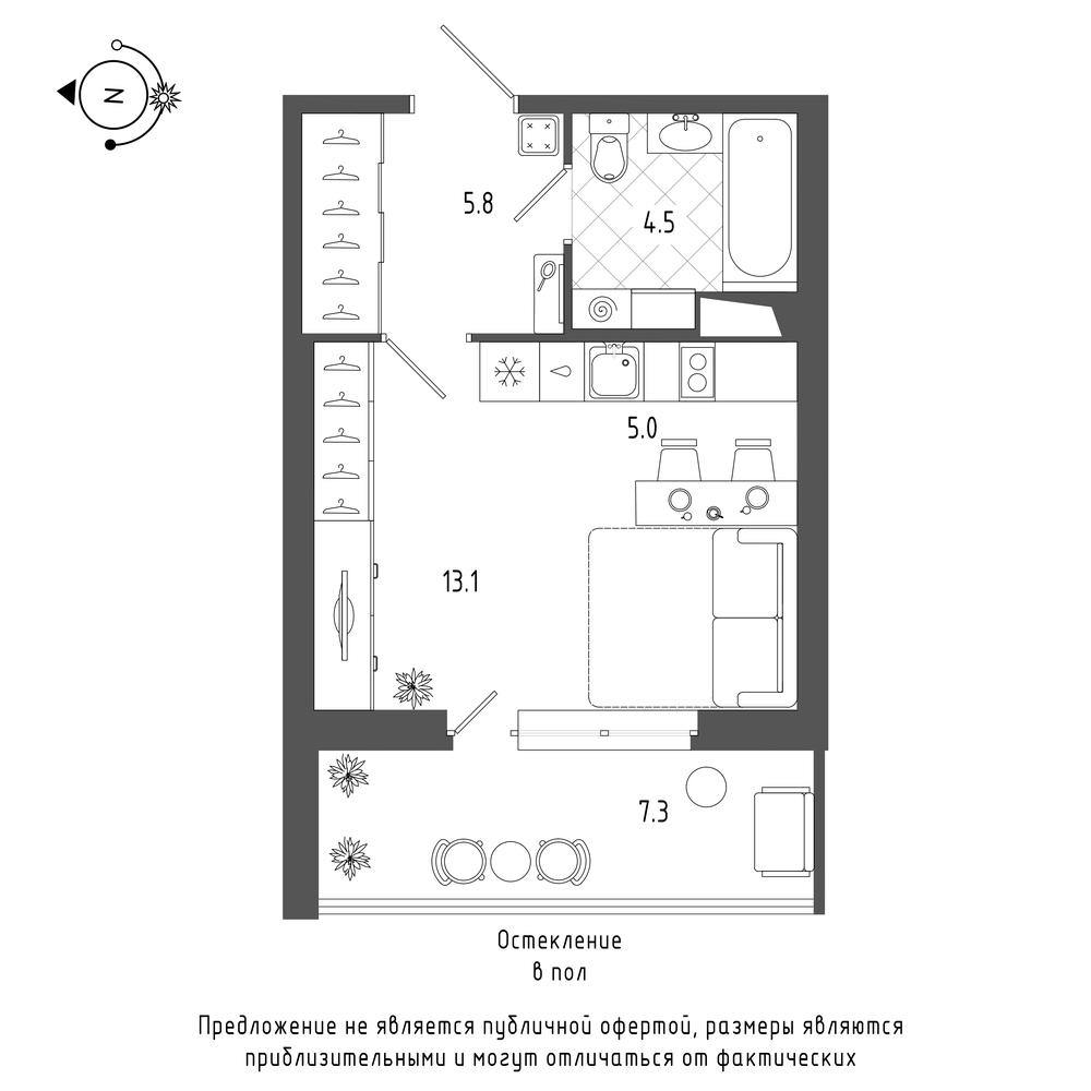планировка квартиры студии в  №249