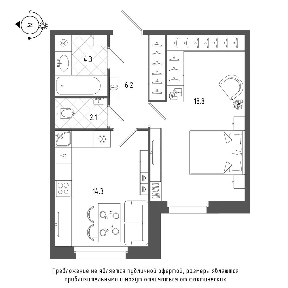 планировка однокомнатной квартиры в  №336