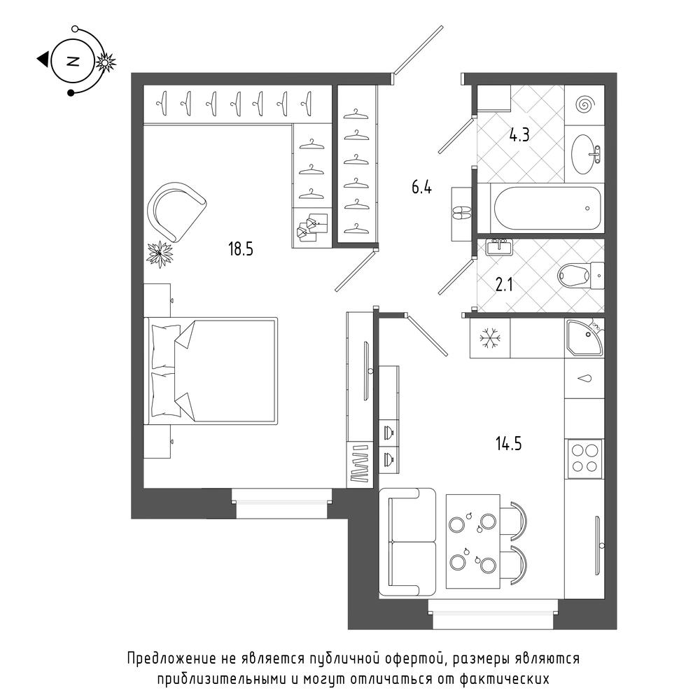 планировка однокомнатной квартиры в  №337