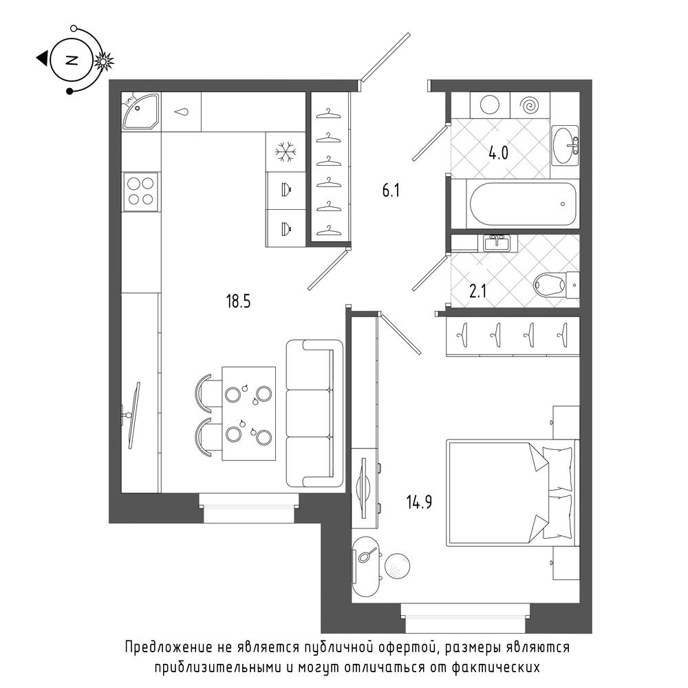 планировка однокомнатной квартиры в  №254