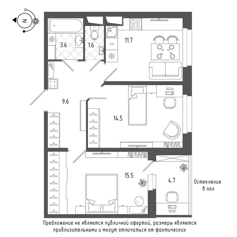 планировка двухкомнатной квартиры в  №769