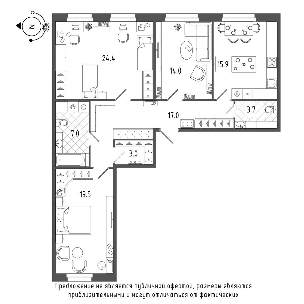 планировка трехкомнатной квартиры в  №251