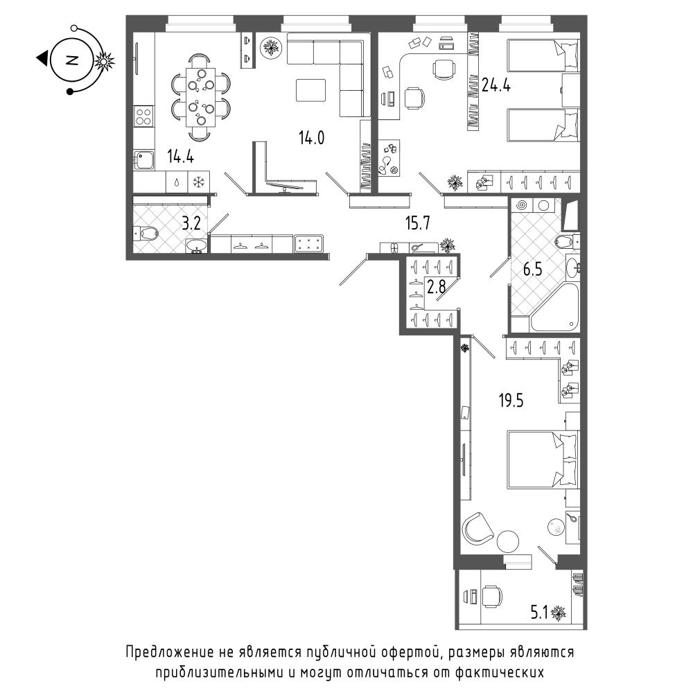 планировка трехкомнатной квартиры в  №262