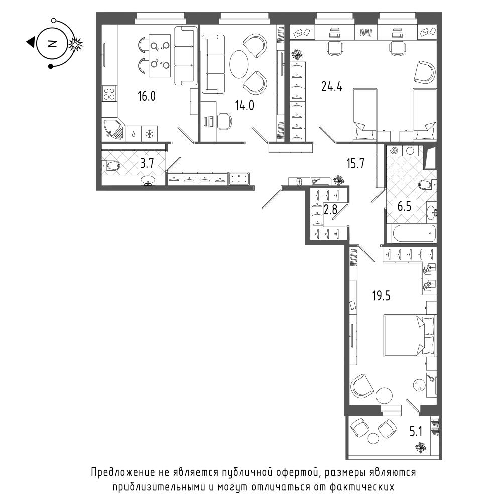 планировка трехкомнатной квартиры в  №344