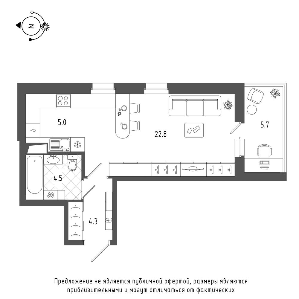 планировка квартиры студии в  №704