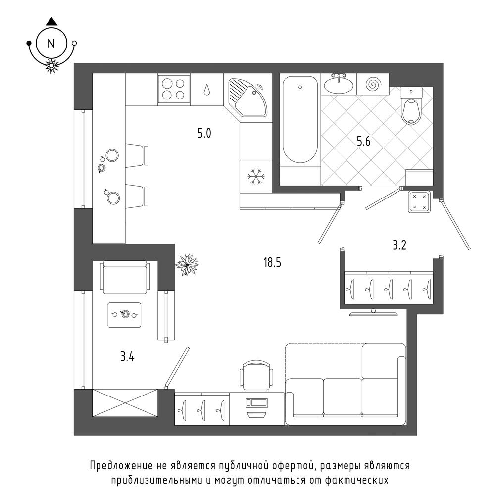 планировка квартиры студии в  №944