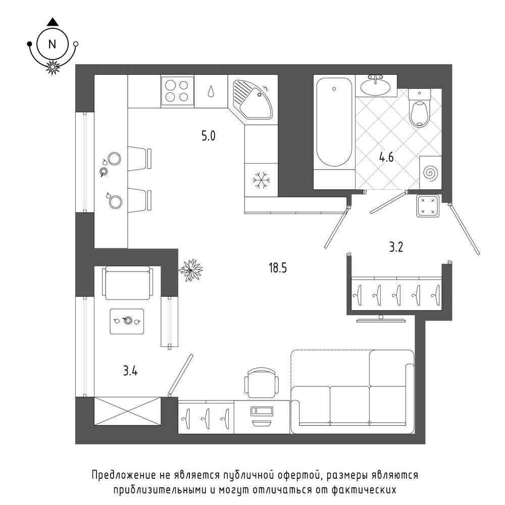 планировка квартиры студии в  №979