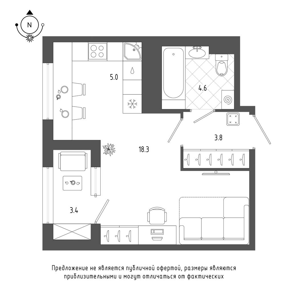 планировка квартиры студии в  №1022