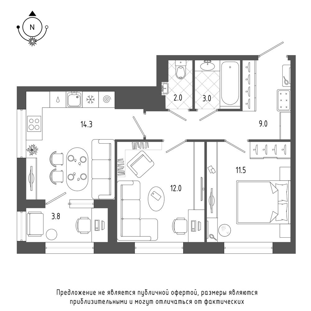 планировка двухкомнатной квартиры в  №1087