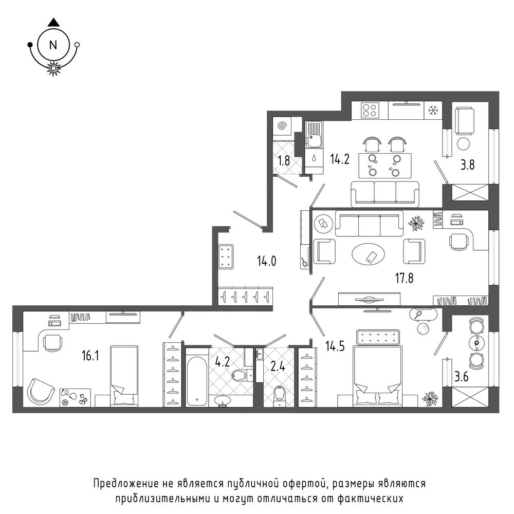 планировка трехкомнатной квартиры в  №239