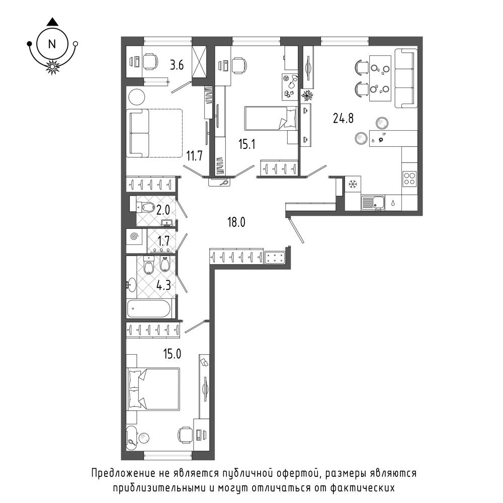 планировка трехкомнатной квартиры в  №571